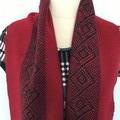 Woman's Acrylic Scarf, Handwoven, Dark Red