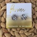 Chunky Silver Glitter Hexagon Stud Earrings| Mother's Day | Unique |  | Gift for