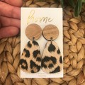 Recycled Leopard Animal Print Dangles   Mother's Day   Unique   Gift for women  