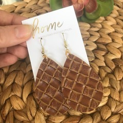 Recycled Faux Leather Embossed Braided Teardrop Dangle Earrings | Mother's Day |