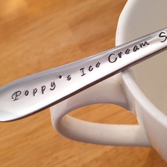 Poppy`s Ice Cream Shovel,Fathers Day, Hand Stamped Spoon,Pa, grandad Present