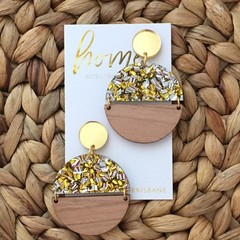 Gold Glitter Semi Circle Dangle Earrings | Mother's Day | Unique |