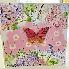 Handmade Card - Hydrangeas Blossoms with Butterfly All Occasion Card Floral Card