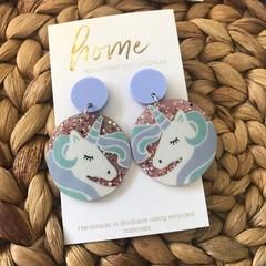 Recycled Unicorn Glitter Purple Dangles | Unique | Gift for women | Eco