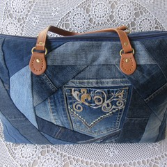 Women's Carry on Luggage/Overnight Bag/Weekender - Recycled Denim