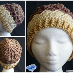 Crochet Beanie in shades of brown with all around shells design