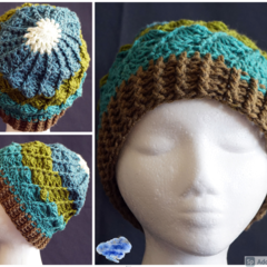 Crochet Beanie in shades of greens with all around shells design
