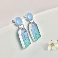 Blue and Aqua Drop Earrings