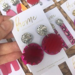 Recycled Red Shiny Pink Silver Glitter Dangles   Unique   Gift for women   Eco