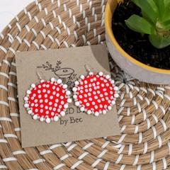 Red Polkadot Dangle Earrings
