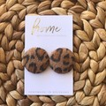 Recycled Textured Animal Print Denim Leopard Print Stud Earrings   Mother's Day