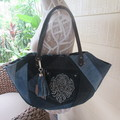 Women's Shoulder Bag - Recycled Denim with Sparkle Pockets