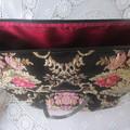 Women's Carry on Luggage/Overnight Bag/Weekender - Black Brocade w Metallic Gold