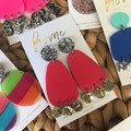Recycled Silver Gold Coral Glitter Dangles | Sustainable