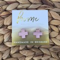 Rose Gold Cross Stud Earrings| Mother's Day | Bridesmaid | Gift for her