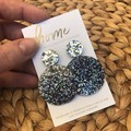 Recycled Black Silver Glitter Hoop Earrings | Mother's Day | Unique | Eco