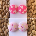Recycled Pink Heart Stud Earrings  Mother's Day   Ecofriendly