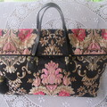Women's Carry on Luggage/Overnight Bag/Weekender - Black Brocade w Metallic Gold