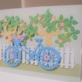 Happy Birthday Card Handmade - Bicycle in a Garden Cottagecore Aesthetic - Blank
