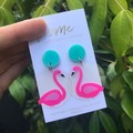Recycled Flamingo Bird Pink Green Mint | Unique | Gift for women | Eco |