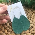 Recycled Tooled Embossed Faux Leather Teardrop Dangle Earrings | Mother's Day |