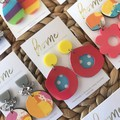 Recycled Coral Orange Yellow Blue Dot Dotty Dangles   Unique   Gift for women  