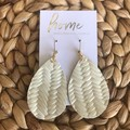 Recycled Braided Tooled Embossed Leather Teardrop Dangle Earrings | Mother's Day