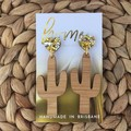 Bamboo Cactus Earrings with Gold and Silver Heart Stud | Mother's Day | Unique |