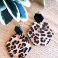 Hexagon Stud, Genuine Leather Earrings, Black/Brown Leopard Print