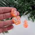 Sunburst Orange - Flower Pot - Glittering - Drop Resin - Stud Dangle earrings