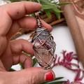 Celestite, Pink Tourmaline and Quartz Point Pendant