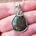 Large Andamooka Matrix Opal Sterling silver wire wrapped pendant