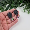 Starstudded Rainbow Drop Oval and Circle - Glittering Drop Resin - earrings