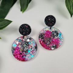 Dream Galaxy Circle - Glittering Drop Resin - earrings