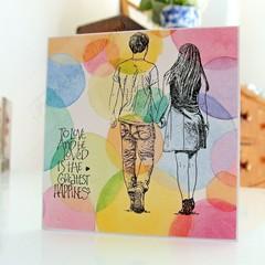 Wedding Anniversary Card - Romantic Couple Love Card, Handmade Pastel