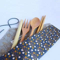 Reusable Cutlery Roll With Or Without Bamboo Cutlery | Navy Stems