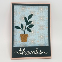 Thank You Card - Thanks, Potted Plant with Leaf Sprig