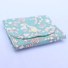 Cotton and Felt 6 Page Needle Book - Floral in Blue Round Edge