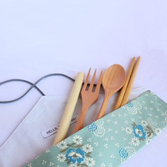 Reusable Cutlery Roll With Or Without Bamboo Cutlery | Dreamy Floral