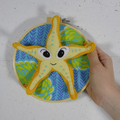 Starfish Flying a Balloon Wall Mounted Felt Ring Wire Sculpture Faux Taxidermy