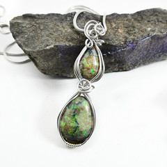 Two Andamooka opals Sterling wrapped pendant