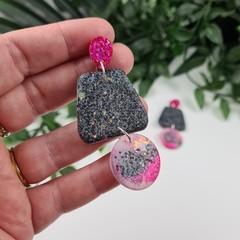 The Night Garden - Trio Drop Glitter - Drop Resin - Stud Dangle earrings