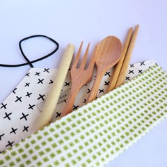 Reusable Cutlery Roll With Or Without Bamboo Cutlery | Green X