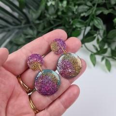 Minty Pop Circle - Glittering - Drop Resin - Stud Dangle earrings