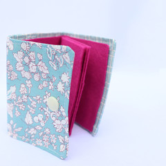 Cotton and Felt 6 Page Needle Book - Floral in Blue Square Edge