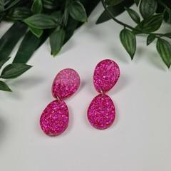 Dolly Drops - PINK - Glittering - Drop Resin - Stud Dangle earrings
