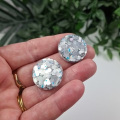 Iced - Blue Silver Maxi Circle Glitter Resin Button Stud Earrings