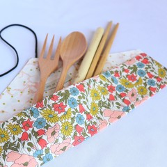 Reusable Cutlery Roll With Or Without Bamboo Cutlery | Pink Floral