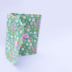 Cotton and Felt 6 Page Needle Book - Green Flowers