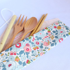 Reusable Cutlery Roll With Or Without Bamboo Cutlery | Blue Floral